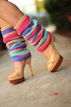Fashion Leg Warmers Flower Blossom Stripes by mademoisellemermaid, $85.00
