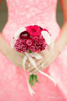 Dark Pink Bridesmaids Bouquets