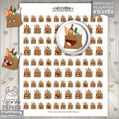 Groceries Stickers Groceries Bag Cute Groceries by YupiYeiPapers