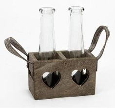 Double Vases in Wooden Heart Tray.Rustic wooden tray with heart cut out and glass bottles.A gorgeous rustic gift for the home. Shabby Chic Garden, Shabby Chic Homes, Shabby Chic Kitchen Accessories, Garden Accessories, Wooden Hearts, Glass Containers, Bottle Holders, Leather Handle, Glass Bottles