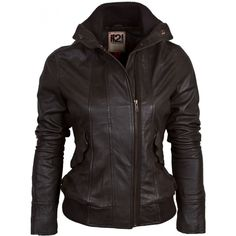 Women's Leather Bomber Jacket with Funnel Neck