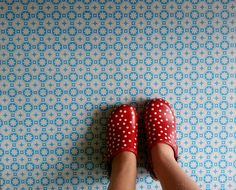 Rose des Vents Blue Vinyl Flooring. Retro Floor tiles for your home