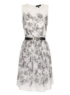 Little Mistress Grey and White Floral Dress
