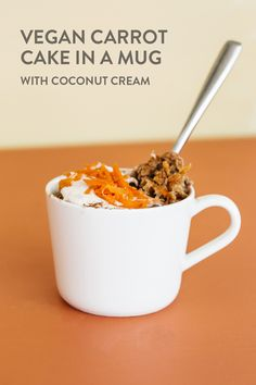 Vegan Carrot Cake in a Mug with Coconut Cream. Just what I needed today. Cook this in the oven at 350F for around 15 minutes.