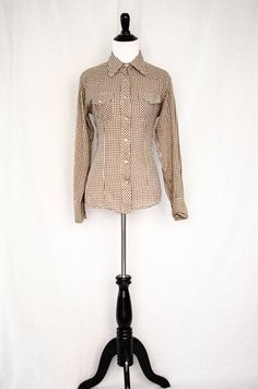 Vintage 1970's 'Ponderosa' Men's Western Style Brown Gingham Ultra - Thin Pearl Snap Button Down Shirt Size S / M by BeehausVintage on Etsy