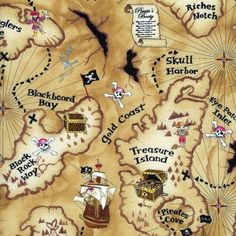 Emily's quilt--fat quarter Patchwork Quilting Fabric Timeless Treasures Pirate Map C9886 fq