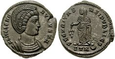 Saint Helena - Founder of the True Cross and mother of the Emperor Constantine the Great. Defender Of The Faith, Constantine The Great, Roman History, Antique Coins, Armor Of God, St Helena, Rare Coins, Roman Empire, Ancient History