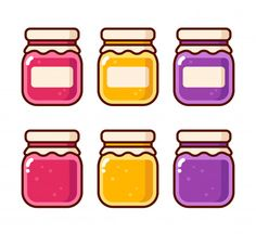 Fruit preserves in glass jars vector illustration collection. Cute Food Art, Cute Art, Fruit Jam, Fruit Preserves, Red Fruit, Jar Of Jam, Cute Food Drawings, Drawing Anime Clothes, Funny Phone Wallpaper