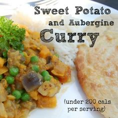 Skinny Sweet Potato and Aubergine (eggplant) Curry. Under 200 calories per serving.