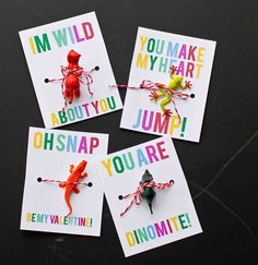 Free printable animal Valentine's Day cards for giving out little toys instead of candy.
