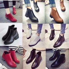 Fashion-Women-039-s-Ladies-Short-Ankle-Boots-Zipper-Low-Heel-Winter-Chelsea-Shoes