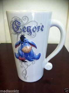 "New Disney Winnie The Pooh Eeyore White Ceramic 3D Mug 6 1 2"" Tall Coffee Cup   eBay"