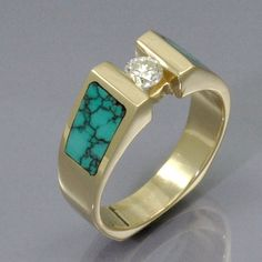 Yellow Gold Turquoise Inlaid Diamond Solitaire Ring on Etsy, $895.00