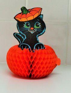 vintage Beistle honeycomb Halloween decoration - black cat in pumpkin