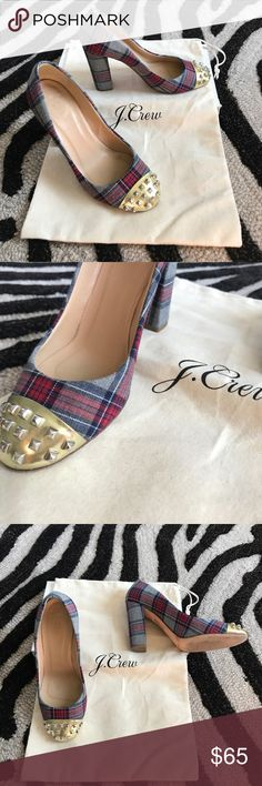 J. Crew plaid studded heels Very good condition. Plenty of wear still. Round studded cap toe and plaid fabric heels, size 6 J. Crew Shoes Heels