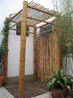 Bamboo - this would be a divine exterior shower with the addition of a large, overhead rain shower head. - via campoejardins #outdoorshower