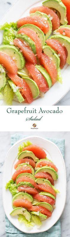Grapefruit avocado salad. Peeled segments of grapefruit arranged with avocado slices, with a citrus vinaigrette.
