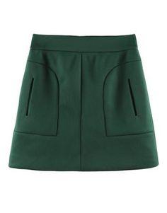 Green OL Mini Skirt #sheinside