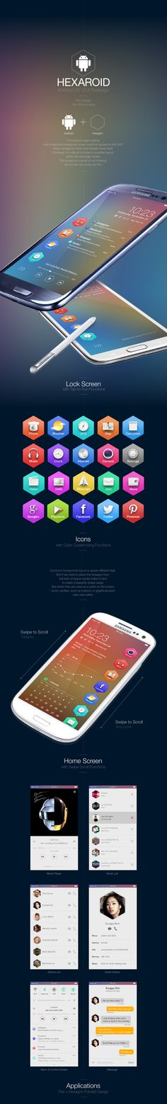 Hexaroid : Android OS GUI Redesign by Won-kyoung Seo, via Behance