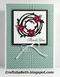 handmade card from Crafts by Beth ... focal point with Swirly Bird die cut wreath ... luv the white string triple wrap detail ...