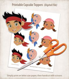 Cute! Jake and the Neverland Pirates Cupcake Toppers and Liners