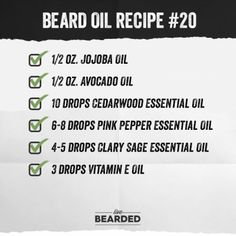 Looking for a good beard oil? We'll show you how to craft the perfect beard oil recipe from home, and show you step by step what you need to do! Diy Beard Oil, Beard Oil And Balm, Best Beard Oil, Beard Balm, Clary Sage Essential Oil, Vanilla Essential Oil, Cedarwood Essential Oil, Essential Oils, Hacks