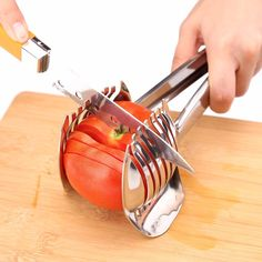 Stainless Steel Tomato Lemon Slicer New Style Onion Holder Easy Slicing Kiwi Kitchen Fruits & Vegetable Tools  #Unique germany design makes slicing fruits and vegetables more quickly and easily #Conveniently designed slicing aid, perfect tool for any task in the kitchen, ideal for tomatoes, onions, lemon, citrus fruit & more! #Made of 100% food grade 18/8 Stainless steel Material, eco-friendly, durable in use.