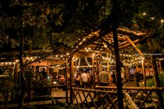 Hidden Creek reception site is soooo beautiful after dark!  Pine Rose Cabins  I  Lake Arrowhead forest wedding venue
