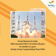 #ProudMoment #RamkyGroup Congratulating Team #ISRO for Flawless Launch of #PSLV-C34.