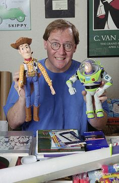 John Lasseter with Woody and Buzz, circa 1994 | 23 Incredible, Rarely-Seen Photos From The Disney Archives