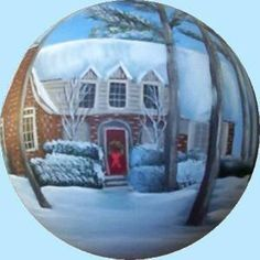 Hand_Painted_Christmas_Ornaments_House_Portraits Painted Christmas Ornaments, Personalized Christmas Ornaments, Snow Globes, Portraits, Hand Painted, Gifts, House, Painting, Home Decor