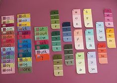 #LanguageArt #WordStudy Brilliant way to visually display word families using paint chips!