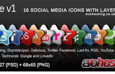 Starry Site! NEW 16 Social Media Icons + PSD!