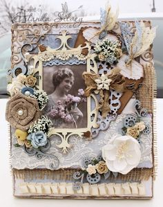 Canvas by LLC DT Member Eulanda Silvey, using papers from Pion Design's Flower Frames collection.
