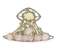 N ART NOUVEAU OPAL, DIAMOND, ENAMEL AND GLASS 'ROSE' PENDANT, BY RENE LALIQUE Designed as a rose-cut diamond openwork plaque, centering upon an oval cabochon opal, within a rose-cut diamond surround, to the green plique-à-jour enamel and gold leaves extending a carved pink glass rose cascade, mounted in gold, circa 1900, with French importation mark Signed Lalique for René Lalique