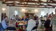 Luncheon wrap up of warm soup, sandwiches, carrot cake, sweet tea and coffee as Episcopal Church Women chat  socially about many topics and the future direction of service,  administration, policy, duties, mission and vision. Zion Episcopal Church, Washington, NC (East Carolina region, USA)