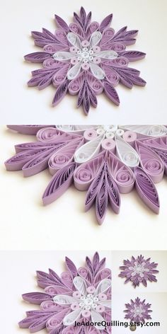 Snowflakes Purple White Christmas Tree Decoration Winter Ornaments Gifts Topper Filler Office Corporate Paper Quilling Quilled Handmade Art