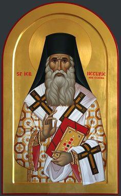 Nectarie - 107 X 65 cm - foita de aur Orthodox Catholic, Orthodox Christianity, Son Of God, Orthodox Icons, Saints, Jesus Christ, Aurora Sleeping Beauty, Spirituality, Disney Characters