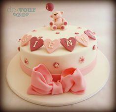 teddy bear cake, first birthday cake, cute birthday cake