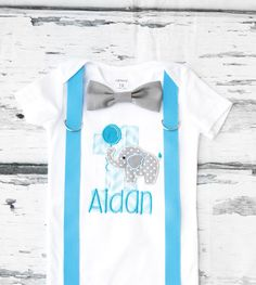 Boy first birthday Elephant and Balloon themed bow tie & Suspenders Bow tie Number 1 First Birthday Boy Cake Smash Outfit Boy 1st Birthday by LoveAndLollipopsBaby on Etsy