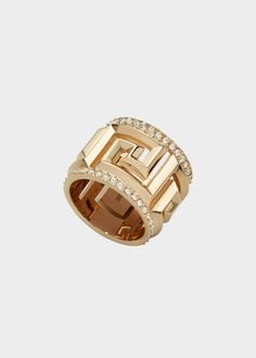 Greek Key Crystal Ring - Clear Gold Rings