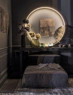 Home Decoration Living Room Dark Interiors, Beautiful Interiors, Colorful Interiors, Elle Decor, Living Divani, Living Room, Parisian Apartment, French Apartment, Apartment Ideas