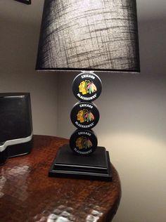 Chicago Blackhawks Hockey Puck Lamp on Etsy, $65.00