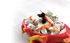 Dragon Fruit Lobster Salad with Lumpfish Caviar.