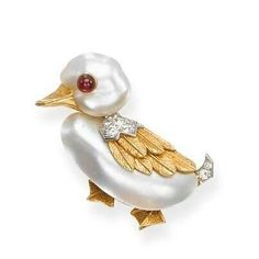 A CULTURED PEARL, RUBY AND DIAMOND DUCK BROOCH, BY #cartier #jewels #jewellery