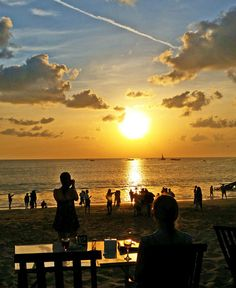 Beautiful sunset in Jimbaran Bay.