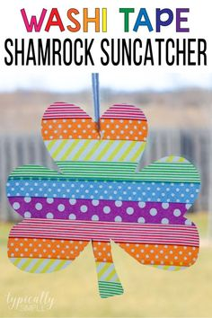 These washi tape shamrock suncatchers are a super easy craft to make with the kids for St. And they are perfect for adding a rainbow of colors to your windows! Easy Toddler Crafts, Easy Crafts To Make, Holiday Crafts For Kids, Craft Projects For Kids, Craft Activities For Kids, Simple Crafts, Craft Ideas, Holiday Activities, Holiday Ideas