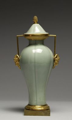 Vase - Chinese (Ceramicist) French (Metalworker) -  PERIOD: Porcelain: 1775-1825; Mounts: 1870-1880 - porcelain molded in paste with glaze celadon and French ormolu mounts