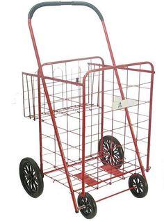 ATHome Wheeled Cart with Basket Utility Storage Cart Red Baby Closet Dividers, Small Closet Organization, Organizing, Folding Shopping Cart, Shopping Carts, Bathroom Cart, Storage Cart, Easy Storage, Metal Cart