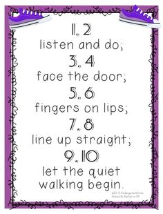 """5 Quick Hallway Transitions {Printable} 2 listen and do; 4 face the door; 6 fingers on lips; 8 line up straight; 10 let the quiet walking begin."""" 5 Quick Hallway Transitions for Kindergarten {Free Printables} Kindergarten Songs, Preschool Songs, Preschool Learning, Beginning Kindergarten, Preschool Class Rules, Preschool Lessons, Classroom Behavior, Classroom Activities, Classroom Organization"""